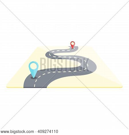 Road Itinerary Icon. Cartoon Of Road Itinerary Vector Icon For Web Design Isolated On White Backgrou