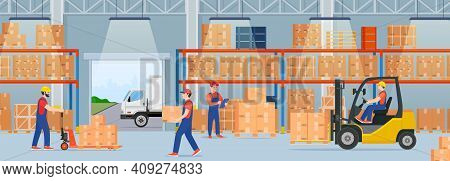 Warehouse Interior With Cardboard Boxes And Cargo Truck. Staff Surrounded By Boxes On Rack And Trans
