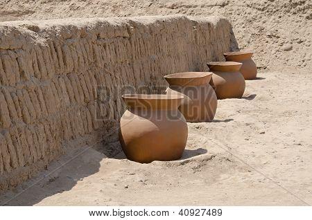 Clay Pots At Huaca Pucllana, Lima, Peru