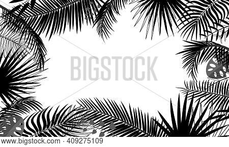 Banner Template With Tropical Leaves, Palm Branches, Monstera. Tropical Poster With Black Outline Dr