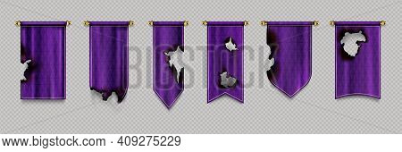 Old Burn Pennant Flags Mockup, Purple Blank Hanging Banners With Gold Border And Burnt Black Holes.