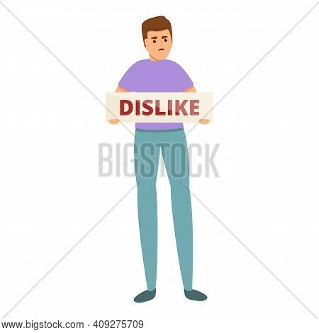 Dislike Man Banner Icon. Cartoon Of Dislike Man Banner Vector Icon For Web Design Isolated On White