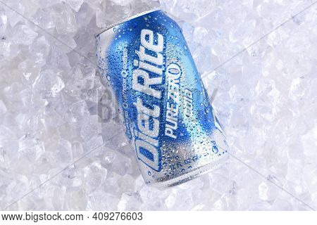 IRVINE, CALIFORNIA - MAY 23, 2018: A can of Diet Rite Pure Zero Cola on ice. Diet Rite is a brand of no-calorie soft drinks originally distributed by the RC Cola company