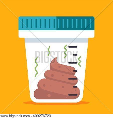 Plastic Transparent Jar With Human Excrement For Medical Tests. Flat Vector Illustration.