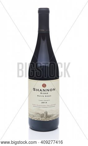 IRVINE, CALIFORNIA - JULY 10, 2017: Shannon Ridge Petite Sirah. The Shannon Ridge Winery is located in the Lake County region of Northern California.