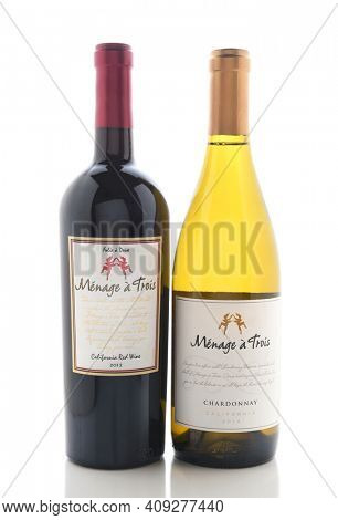 IRVINE, CALIFORNIA - NOVEMBER 16, 2016: Menage a Trois Chardonnay and Red Table Wine. Produced by the award winning winery Folie a Deux in Sonoma, California.