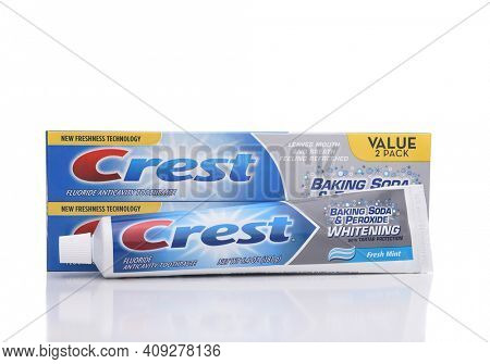 IRVINE, CALIFORNIA - JANUARY 22, 2017: Crest Whitening Toothpaste. Crest from Proctor and Gamble is a leading manufacturer of oral hygiene products.