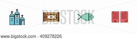 Set Church Building, Traditional Carpet, Christian Fish And The Commandments Icon. Vector