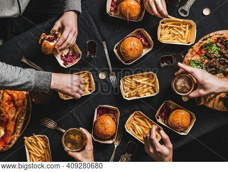 Lockdown Family Fast Food Dinner From Delivery Service. Flat-lay Of Friends Having Quarantine Home P