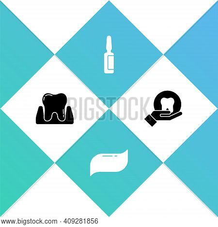 Set Tooth, Toothpaste, Painkiller Tablet And Icon. Vector
