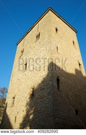 Medieval tower, known as the prison tower or clock tower, in the city of Jaca, Pyrenees, Huesca province, Aragon in Spain.