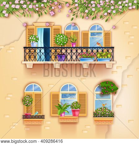 Vintage House Facade Balcony, Old Town Windows Postcard, Spring Blossom Branches, Home Plants, Flowe