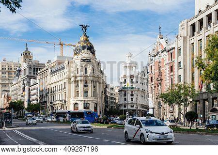 Madrid, Spain - November 1, 2019: Scenic View Of Alcala Street And Gran Via Avenue In Central Madrid