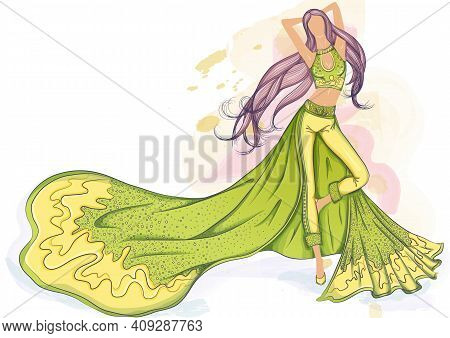 Color Vector Illustration Of A Silhouette Of A Girl In A Long Evening Dress With Long Hair. Drawing