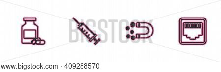 Set Line Medicine Bottle And Pills, Magnet With Money, Syringe And Network Port Cable Socket Icon. V