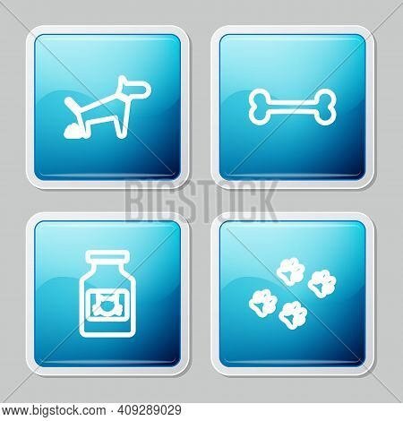 Set Line Dog Pooping, Bone, Cat Medicine Bottle And Paw Print Icon. Vector