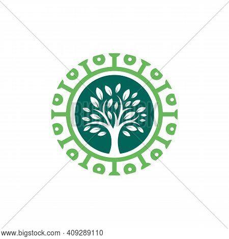 Nature Tech Logo Template, Green Technology Logo Concept, Growth Technology, Tech Tree Logo Symbol