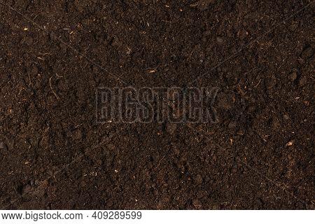 Texture Of Fertile Soil Top View. Spring Gardening Season Concept.