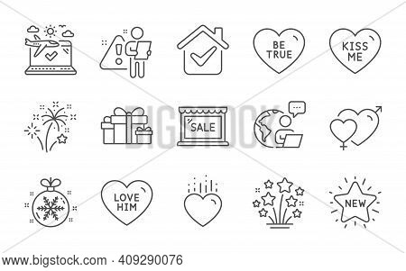 Be True, Holiday Presents And Kiss Me Line Icons Set. Airplane Travel, Heart And Love Him Signs. Mal