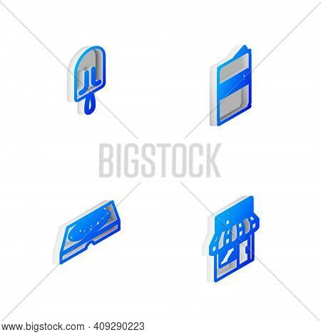 Set Isometric Line Beer Can, Ice Cream, Pizza In Cardboard Box And Pizzeria Building Facade Icon. Ve