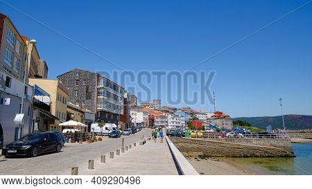 Fisterra, Spain - June 1 2019: City Center View Of Fisherman Village Of Fisterra In Spain, Galicia,