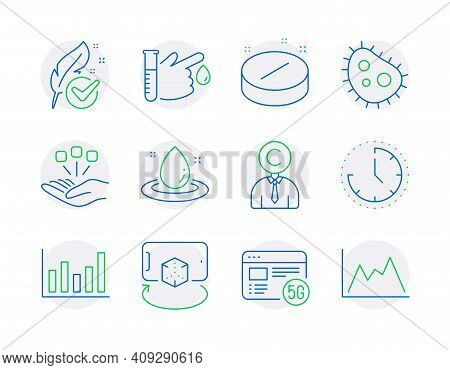 Science Icons Set. Included Icon As Medical Tablet, Time, Fuel Energy Signs. Bacteria, Column Chart,