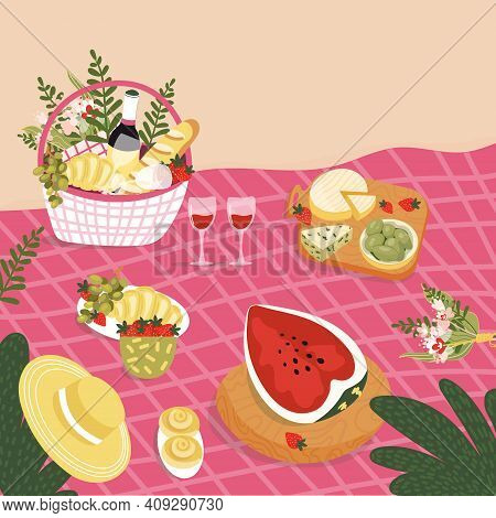 Picnic Basket With Bottle Of Wine, Croissants, Berries At The Blanket. Romantic Date On The Beach Wi