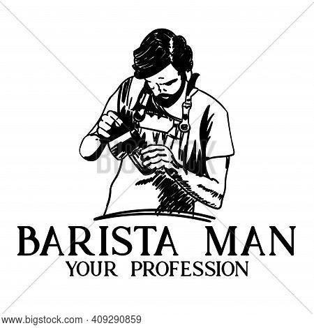 Barista Design Vector. Illustration Barista Logo Vector