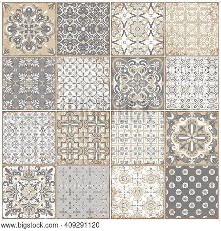 Traditional Ornate Portuguese Tiles Azulejos. Vintage Pattern For Textile Design.