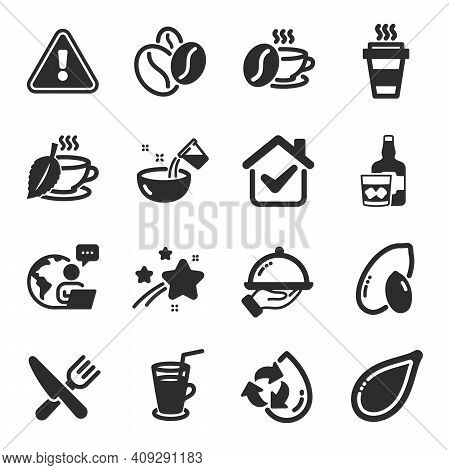 Set Of Food And Drink Icons, Such As Peanut, Coffee Cup, Cocktail Symbols. Mint Tea, Pumpkin Seed, C