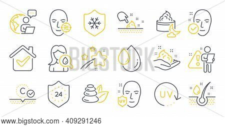 Set Of Beauty Icons, Such As Night Cream, Clean Skin, 24 Hours Symbols. Uv Protection, Oil Drop, Spa