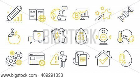 Set Of Science Icons, Such As Eco Food, Mindfulness Stress, Sick Man Symbols. Bitcoin Chart, Ph Neut