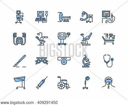 Medical Examination Equipment Flat Line Icon Set Blue Color. Vector Illustration Diagnostic Tools. S
