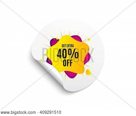 40 Percent Sale Liquid Shape Sticker. Circle Sticker With Offer Banner. Discount Banner. Sale Coupon