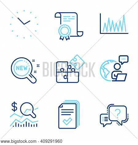 Science Icons Set. Included Icon As Puzzle, Line Graph, Handout Signs. New Products, Time, Certifica