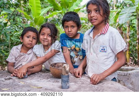 Rivas, Nicaragua. 07-15-2016. Portrait Of Children In A Rural Area Of Nicaragua. They Have To Walk L