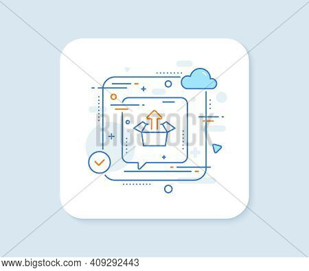 Send Box Line Icon. Abstract Vector Button. Open Delivery Parcel Sign. Cargo Package Symbol. Send Bo