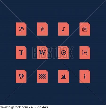 File Icon Set. Type Of File Extension. On Dark Blue Background. Collection Of Files Format Icons. Fl