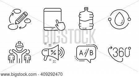 Cooler Bottle, Sale Megaphone And Keywords Line Icons Set. Cold-pressed Oil, Engineering Team And 36