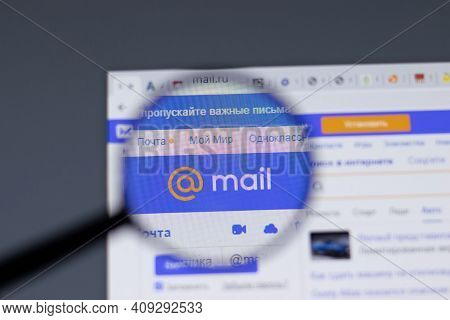 New York, Usa - 17 February 2021: Mail.ru Mail Logo Close Up On Website Page, Illustrative Editorial