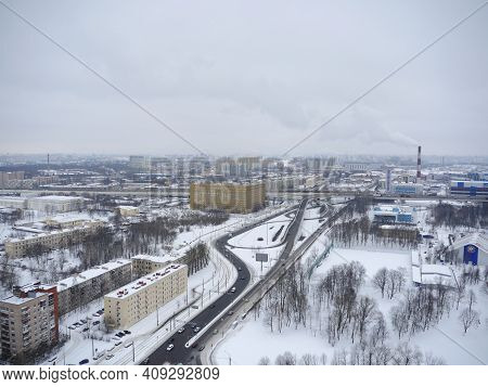St. Petersburg, Russia, January 29, 2020.  Skyline Of The City Of St. Petersburg In The Snow In Wint