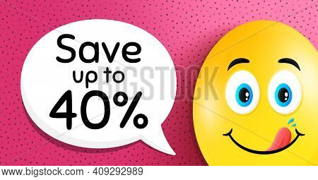 Save Up To 40 Percent. Easter Egg With Yummy Smile Face. Discount Sale Offer Price Sign. Special Off
