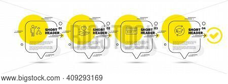 Credit Card, Hold Heart And Algorithm Line Icons Set. Timeline Infograph Speech Bubble. Continuing E