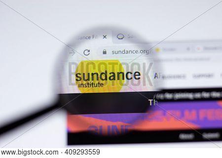 New York, Usa - 17 February 2021: Sundance Institute Film Festival Logo Close Up On Website Page, Il
