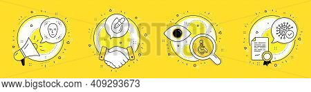 Disabled, Face Detection And Eye Drops Line Icons Set. Megaphone, Licence And Deal Vector Icons. Cor