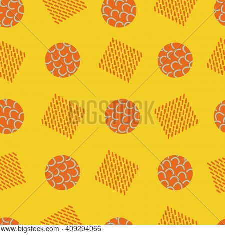 Memphis Style Geometric Shapes Vector Abstract Seamless Pattern Background. Orange Yellow Backdrop W