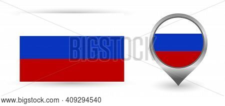 Vector Flag Russia. Location Point With Flag Russia Inside.