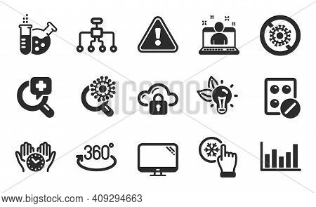 Stop Coronavirus, Medical Analyzes And Computer Icons Simple Set. Chemistry Lab, Full Rotation And B