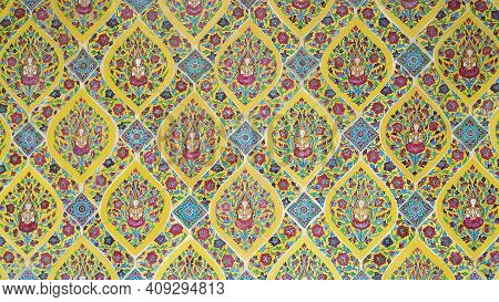 Bangkok, Thailand, October 14, 2020 : The Old Murals Painting With Deity Patterns In Wat Ratchabophi
