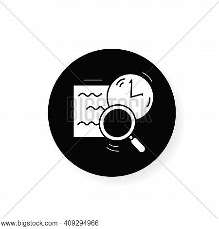 Comprehension Flat Icon. Slow Reading With Magnifier And Clock Linear Pictogram. Concept Of Attentio